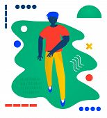 Young Man Walk. Walks - A Man Walk. Creative Vector Illustration Made In Abstract Composition poster