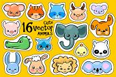 Colorful Animal Face Stickers. Cute Animal Vector Clipart. Little Zoo Icons With Elephant, Koala, Ra poster