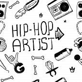 Hip Hop Artist. Hip Hop Doodle Pattern With Rap Attributes poster