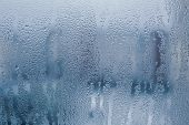 Misted Glass Background. Strong Humidity In Wintertime. Water Drops From Home Condensation On A Wind poster
