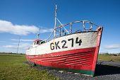 Abandoned Boat In Gardur At Reykjanes Peninsula Iceland. Iceland Landmark poster