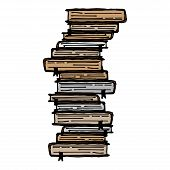 Book Icon. Vector Of A Stack Of Book. Hand Drawn Book. poster