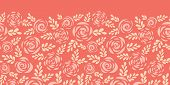 Scandinavian Style Roses And Leaves Red Pink Seamless Vector Border. Floral Silhouettes. Flower Patt poster
