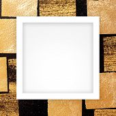 Empty White Frame Template On Gold Plate On Wall Black, White Rectangle Frame Blank On Golden Square poster