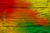 Red And Green Colorful Wooden Planks Cracked Background, Colorful Painted Wooden Texture Wall, Color poster