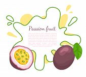 Passionfruit With Leaf, Exotic Juicy Fruit Vector Poster Frame And Text. Maracuja, Parcha, Grenadill poster