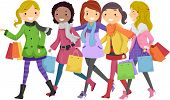 image of bff  - Illustration of Teenagers Out Shopping - JPG