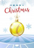 Merry Christmas. Sports Greeting Card. Realistic Softball Ball In The Shape Of A Christmas Ball. Vec poster