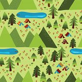 Summer Camping Seamless Vector Pattern. Teepee Tents, Trees, Lakes, Meadow, And Mountains Background poster