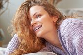 Portrait Of A Beautiful Smiling Girl With Braces. Natural Beauty. poster