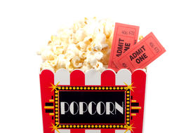 picture of matinee  - isolated popcorn bucket and tickets - JPG