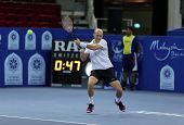 KUALA LUMPUR - SEP 25: Nikolay Davydenko (Russia) plays at the ATP Tour Malaysian Open 2012 on Septe