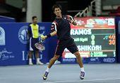 KUALA LUMPUR - SEP 27: Kei Nishikori of Japan plays his round 2 match at the ATP Tour Malaysian Open