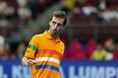 KUALA LUMPUR - SEP 27: Albert Ramos of Spain reacts at a shot played at the ATP Tour Malaysian Open