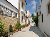 Typical Street In Omodos Village, Cyprus