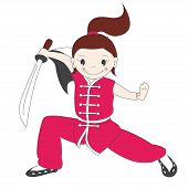 stock photo of friendship belt  - Vector illustration of  kung fu girl with sword - JPG
