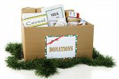 A large corrugated box filled with containers of donated food, surrounded by green Christmas garland.  On a white background.