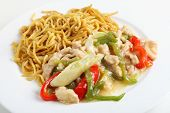 Shredded chicken and red and green sliced capsicums with noodles,