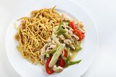 Shredded chicken and red and green sliced capsicums with noodles, seen from above