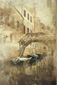picture of foreshortening  - Beautiful foreshortening of Venice in a vintage - JPG