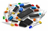 stock photo of microprocessor  - Group of various electronic components - JPG