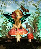 Cute Fairy On Toadstool
