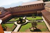 stock photo of sicily  - View from the above of the cloister of the Monreale Cathedral in Sicily - JPG