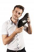 Man Showing One Shoe