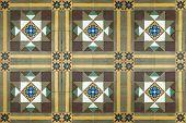 Antique Nyonya Floor Tiles With Geometric Design