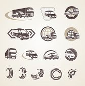 Set of vintage transport icons