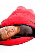 Camper - Man Resting In Sleeping Bag