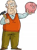 Old Man With Piggy Bank