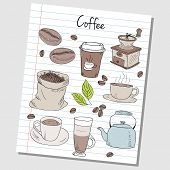 picture of coffee crop  - Illustration of coffee colored doodles on lined paper - JPG