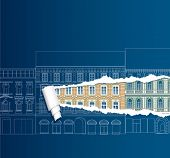vector ripped blueprint with old city european houses