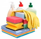 Sponges, Bottles Of Chemistry And Gloves