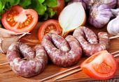 Sausage, Garlic, Tomatoes, Lettuce, Onions