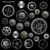stock photo of gear wheels  - Gear collection machine collection of vector cogwheel and gears - JPG