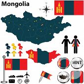 foto of bator  - Vector of Mongolia set with detailed country shape with region borders flags and icons - JPG