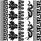 image of jungle snake  - Vector of set of ancient American ornaments on white - JPG