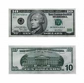 image of one hundred dollar bill  - both sides of the ten dollar bill isolated on white with clipping path - JPG
