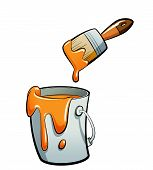Cartoon Orange Color Paint In A Paint Bucket Painting With Paint Brush