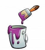 Cartoon Purple Color Paint In A Paint Bucket Painting With Paint Brush