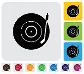 Old Record Player(turntable) Symbol(icon)-minimalistic Vector Graphic