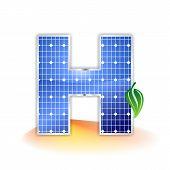 solar panels texture, alphabet capital letter H icon or symbol