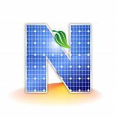 solar panels texture, alphabet capital letter N icon or symbol
