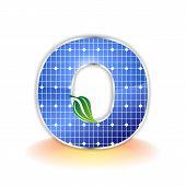 textura de paneles solares, alfabeto mayúscula O icono o símbolo