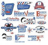 Set of Barber Shop Signs, Symbols and Icons in CMYK red, blue, white and black, featuring the popular symbols like barber shop pole, razor, scissors and mustache