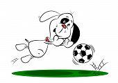 Cartoon Dog Saving a Football
