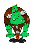 picture of frankenstein  - A cartoon Frankenstein monster with nuts and bolts through the neck - JPG