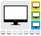 Plana de alta definición Lcd o Led del Monitor de la computadora (pantalla)-gráficos de Vector